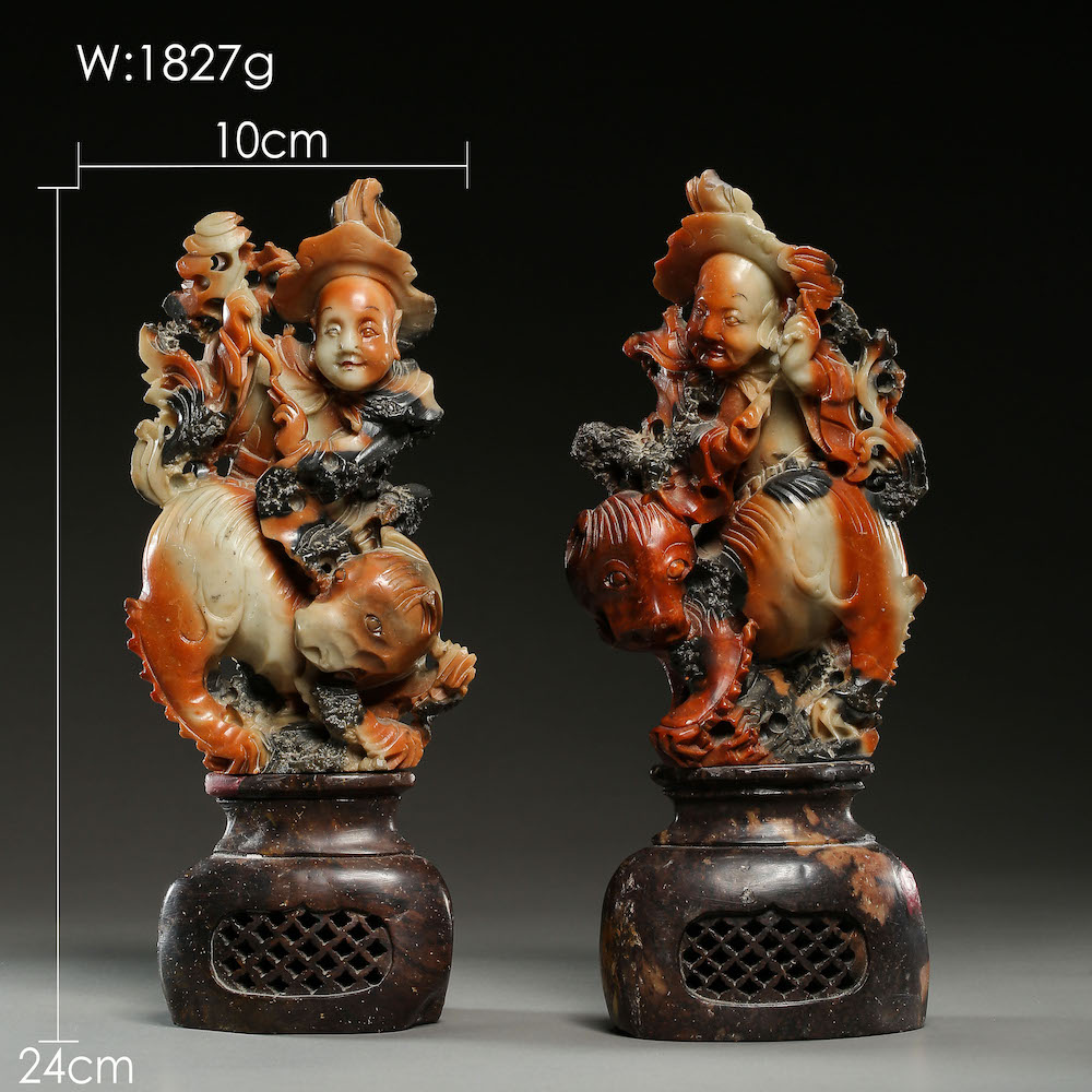 A PAIR OF SHOUSHAN STONE ORNAMENTS, QING DYNASTY, CHINA - Image 2 of 11