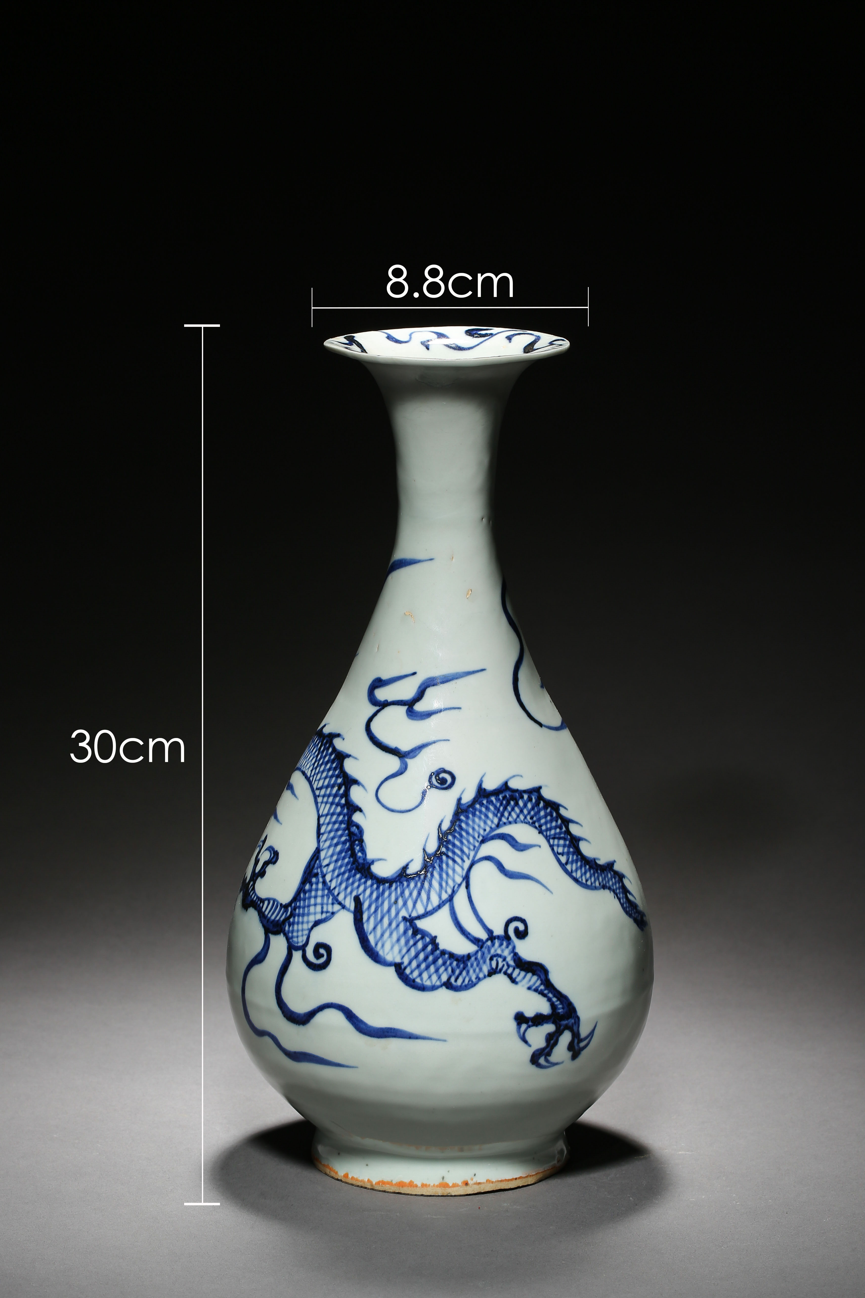 BLUE AND WHITE DRAGON PATTERN VASE, YUAN DYNASTY, CHINA - Image 2 of 8