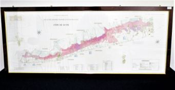 'Côte de Nuits' Art and Cartographie Atlas Des Grands Vignobles de Bourgogne Large Coloured Framed
