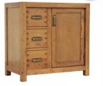 A MONTANA COMPACT SIDEBOARD - NIBBED OAK 80cm x 45cm x 78cm (rrp £600)