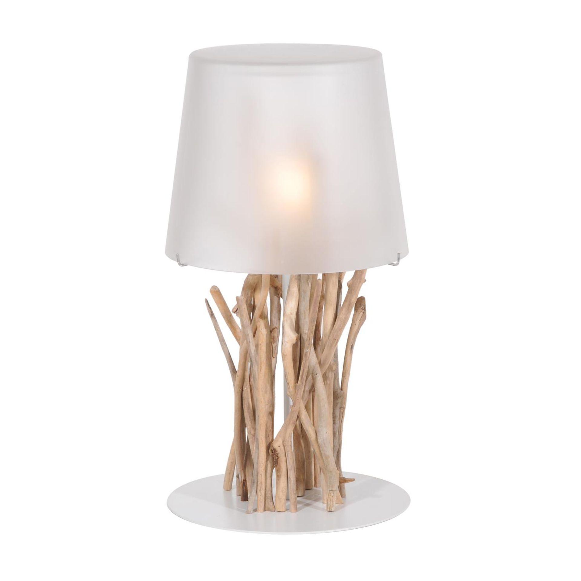 A KIINAU TABLE LAMP DW & CHROME 38cm x 38cm x 49cm (rrp £500) EU wired