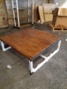 A BARBICAN SQUARE COFFEE TABLE - SALOON & IRON 122cm x 122cm x 45cm (rrp £900)