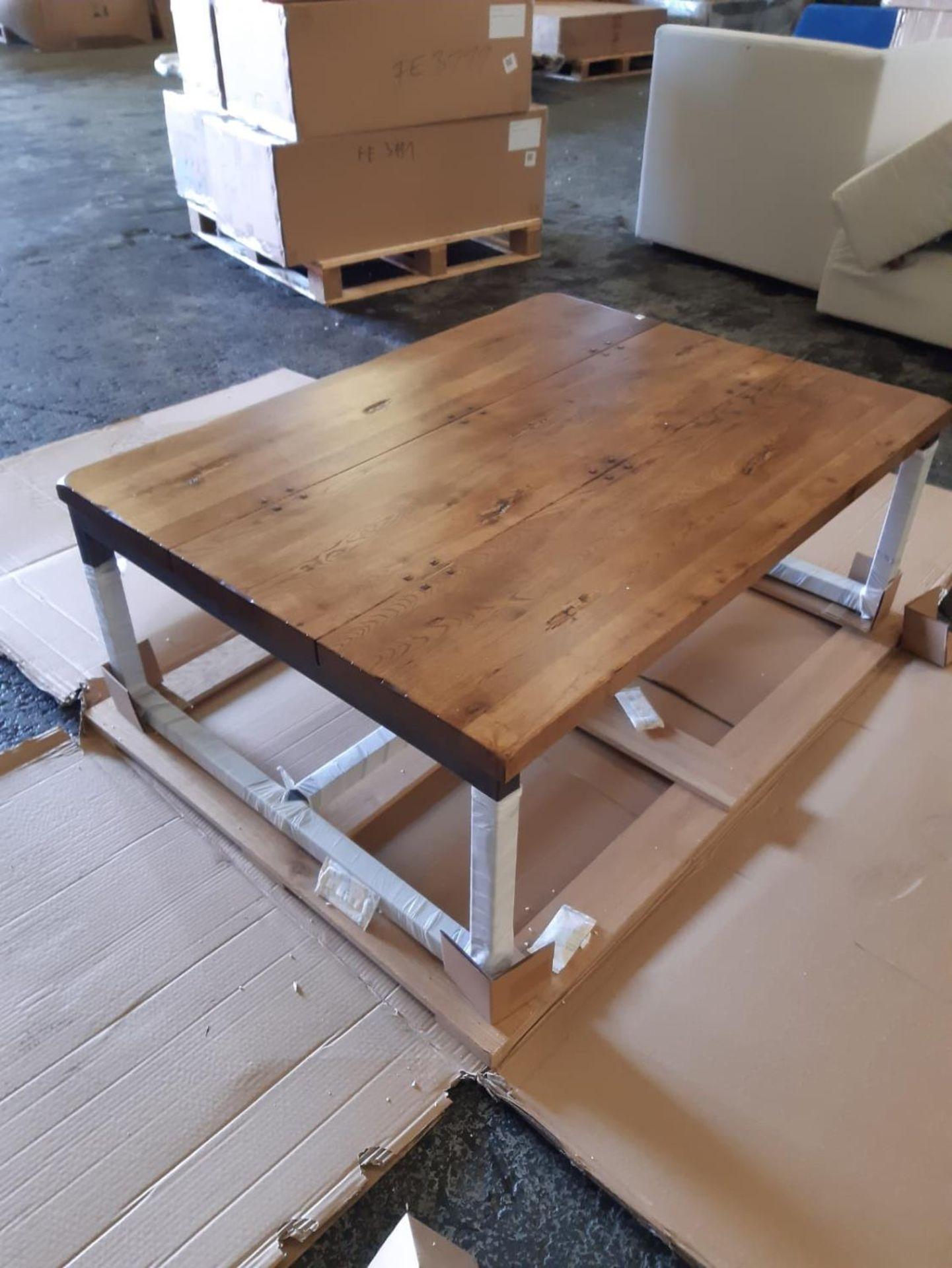 A BARBICAN COFFEE TABLE - SALOON & IRON 183cm x 122cm x 45cm (rrp £1225)