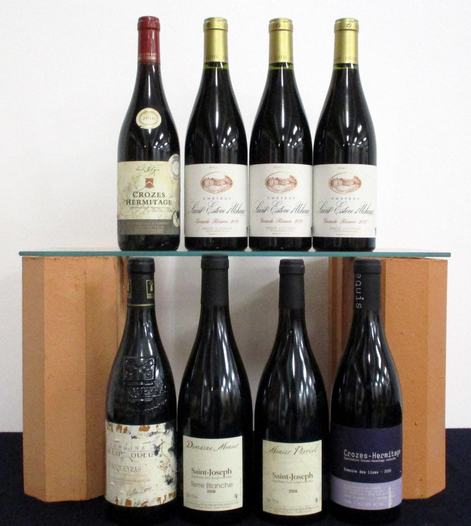 1 bt Vacqueyras V.V. 2007 Dom Le Couroulu cdl 2 bts Saint-Joseph Terre Blanche 2008 Dom Monier