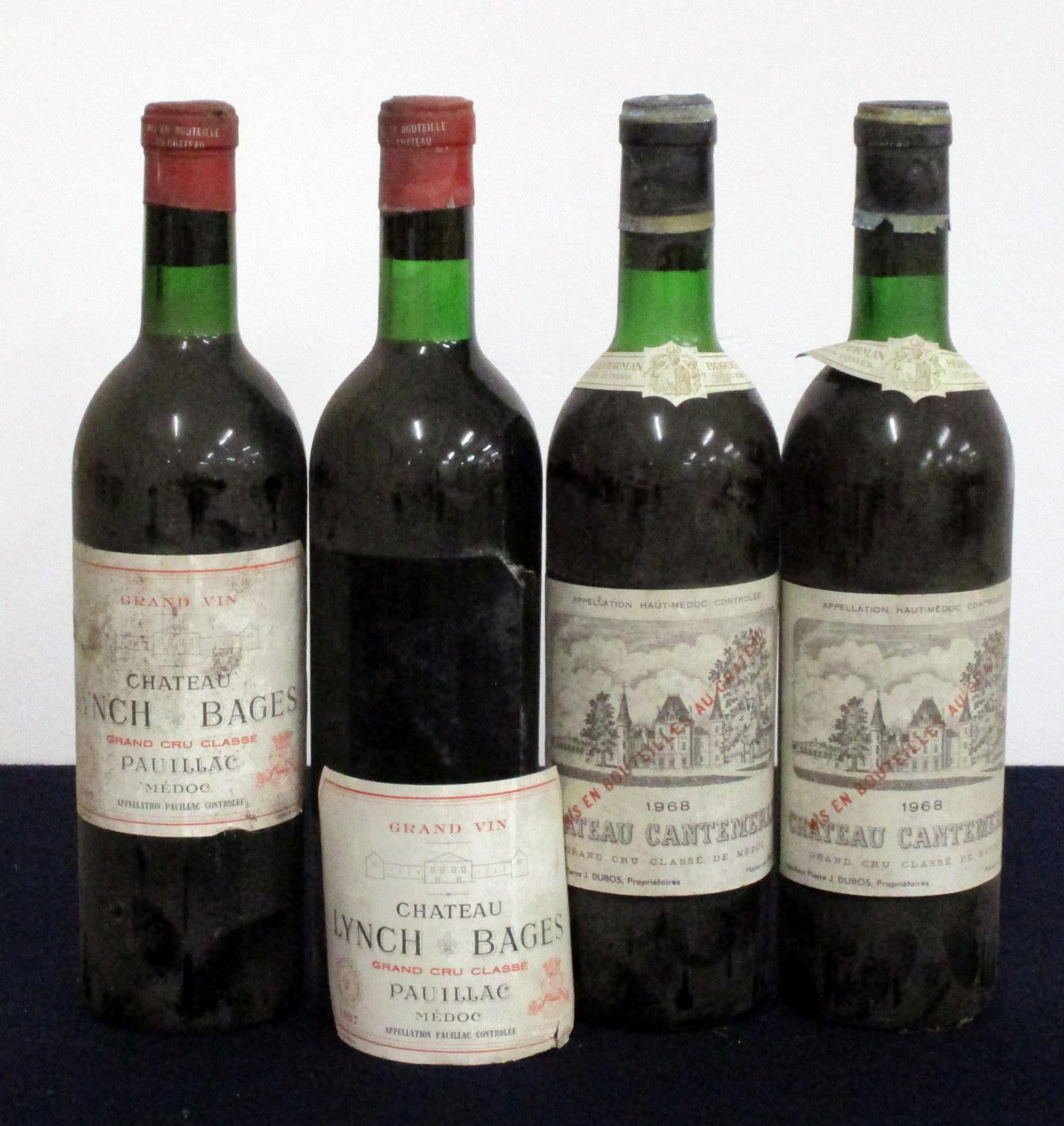 2 bts Ch. Lynch Bages 1967 Pauillac Grand Cru Classé vts, ts, bs, vsl foil damage, 1 loose label 2