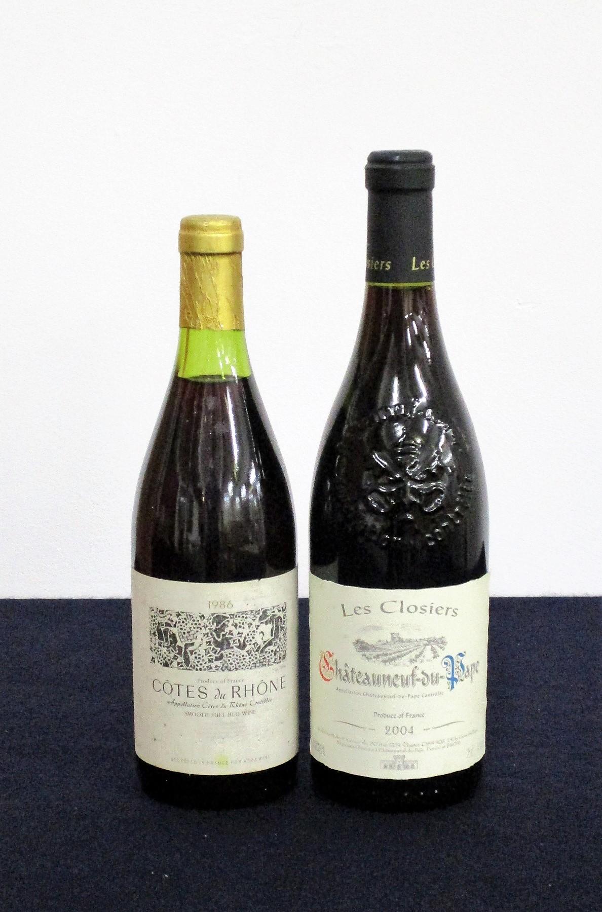 1 bt Côtes du Rhone 1986 Asda bs 1 bt Châteauneuf du Pape Les Cloisters 2004 M & S, hf/i.n Above two