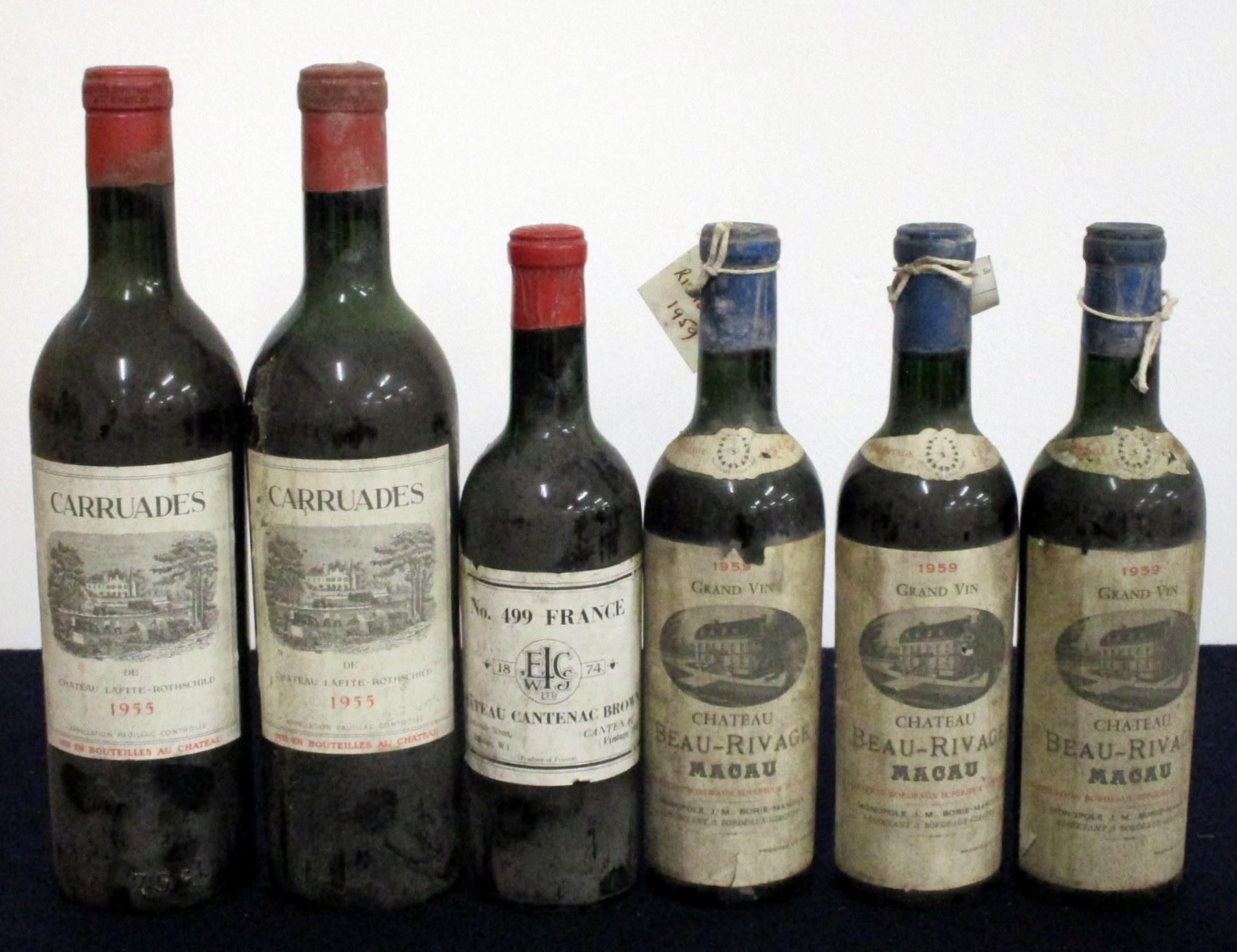 2 bts Carruades de Ch. Lafite Rothschild 1955 Pauillac ts, lms/ms, bs 1 hf bt Ch. Cantenac Brown