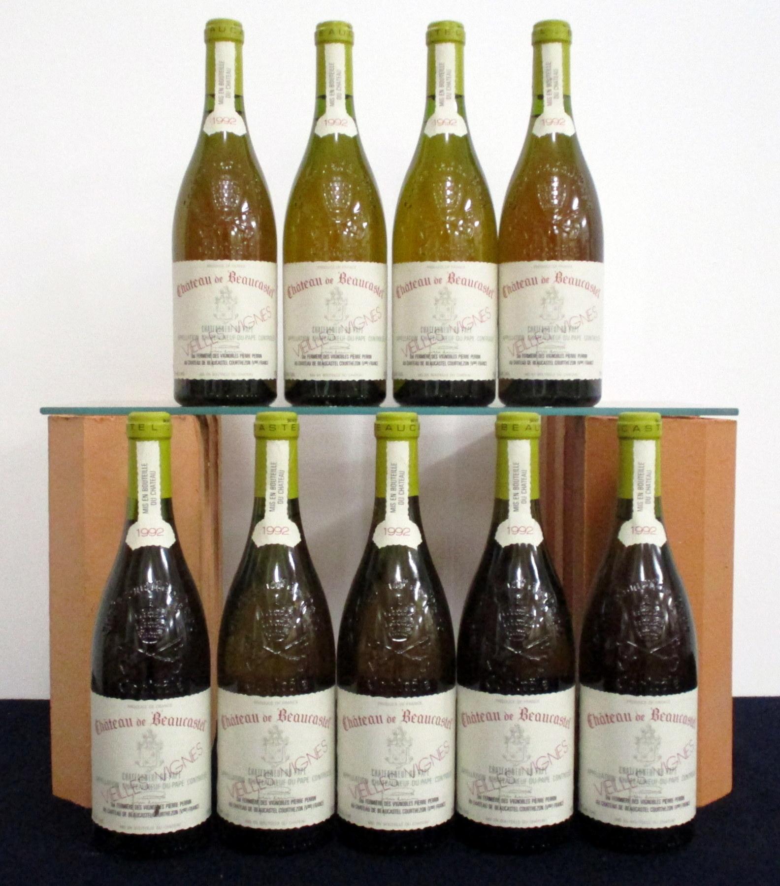 9 bts Châteauneuf du Pape (Blanc) V.V. Ch. de Beaucastel 1992 owc Pierre Perrin 2 vts, 7 ts