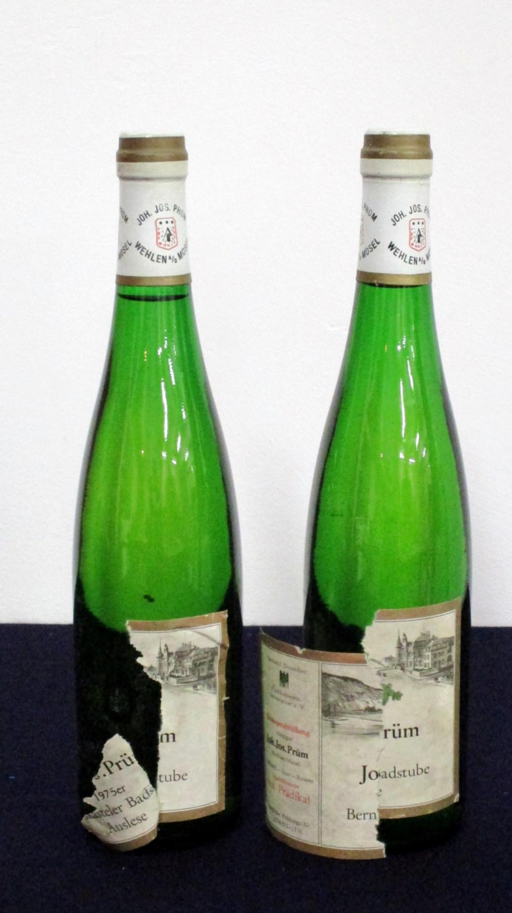 2 bts Joh. Jos Prüm Bernkasteler Badstube Auslese 1975 aged/torn/ loose/pt dis labels