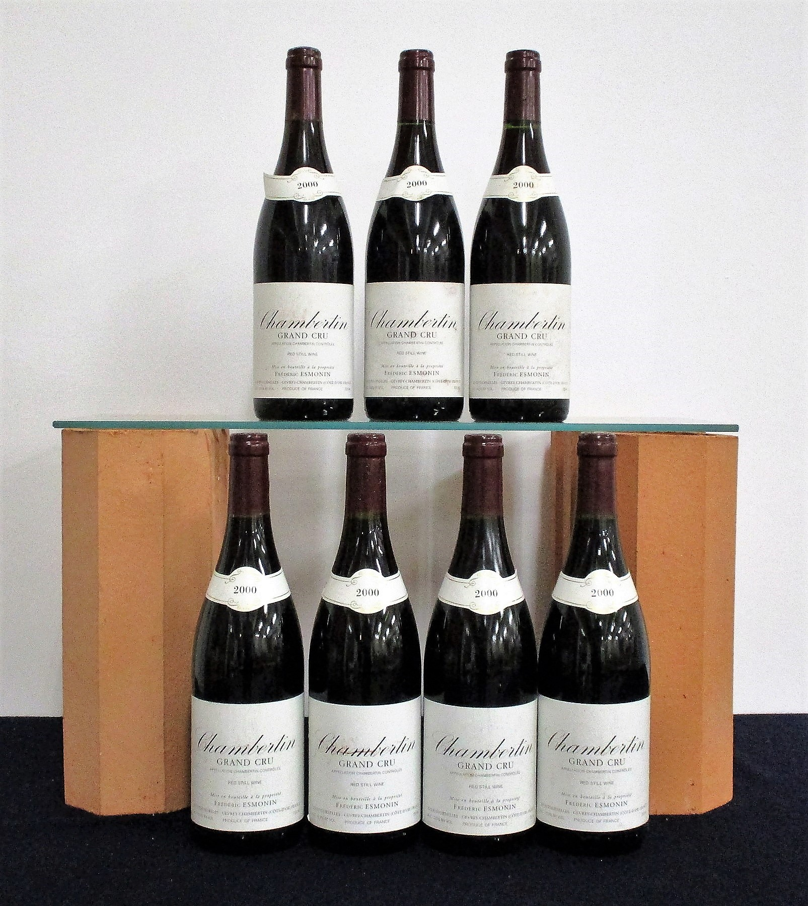 7 bts Chambertin Grand Cru 2000 Frédéric Esmonin 1 hf, 4 hf/i.n, 2 i.n, sl bs