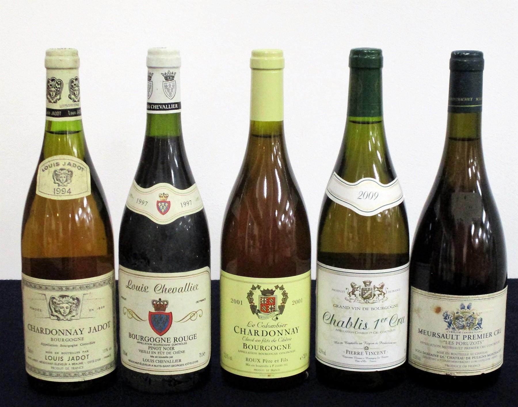 1 bt Chardonnay Jadot Bourgogne 1994 Louis Jadot i.n, sl bs 1 bt Louis Chevalier Bourgogne Rouge