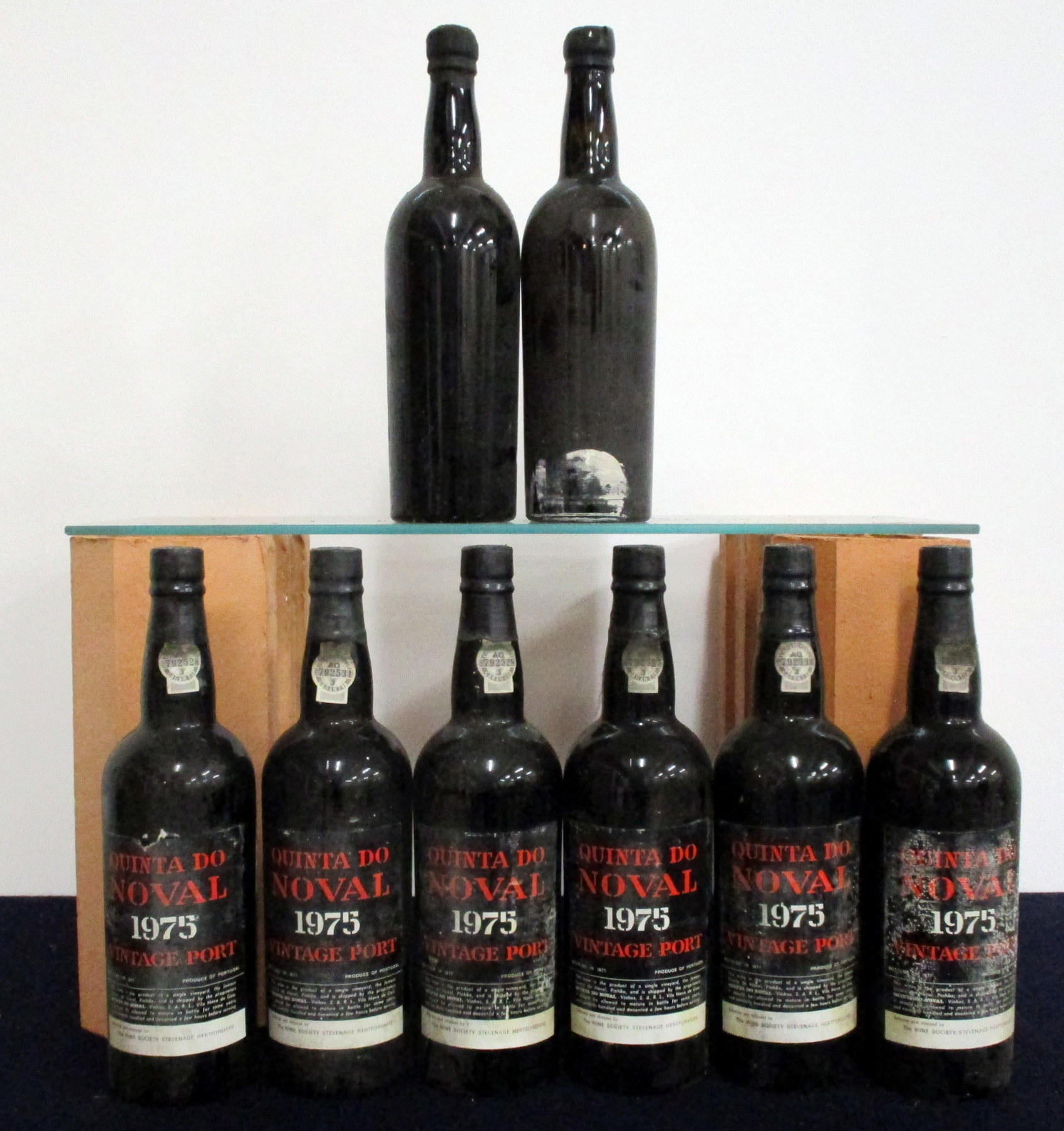 1 bt Quinta do Noval 1955 Vintage Port, i.n, ID from chipped Wax, sl bs 1 bt believed Quinta do