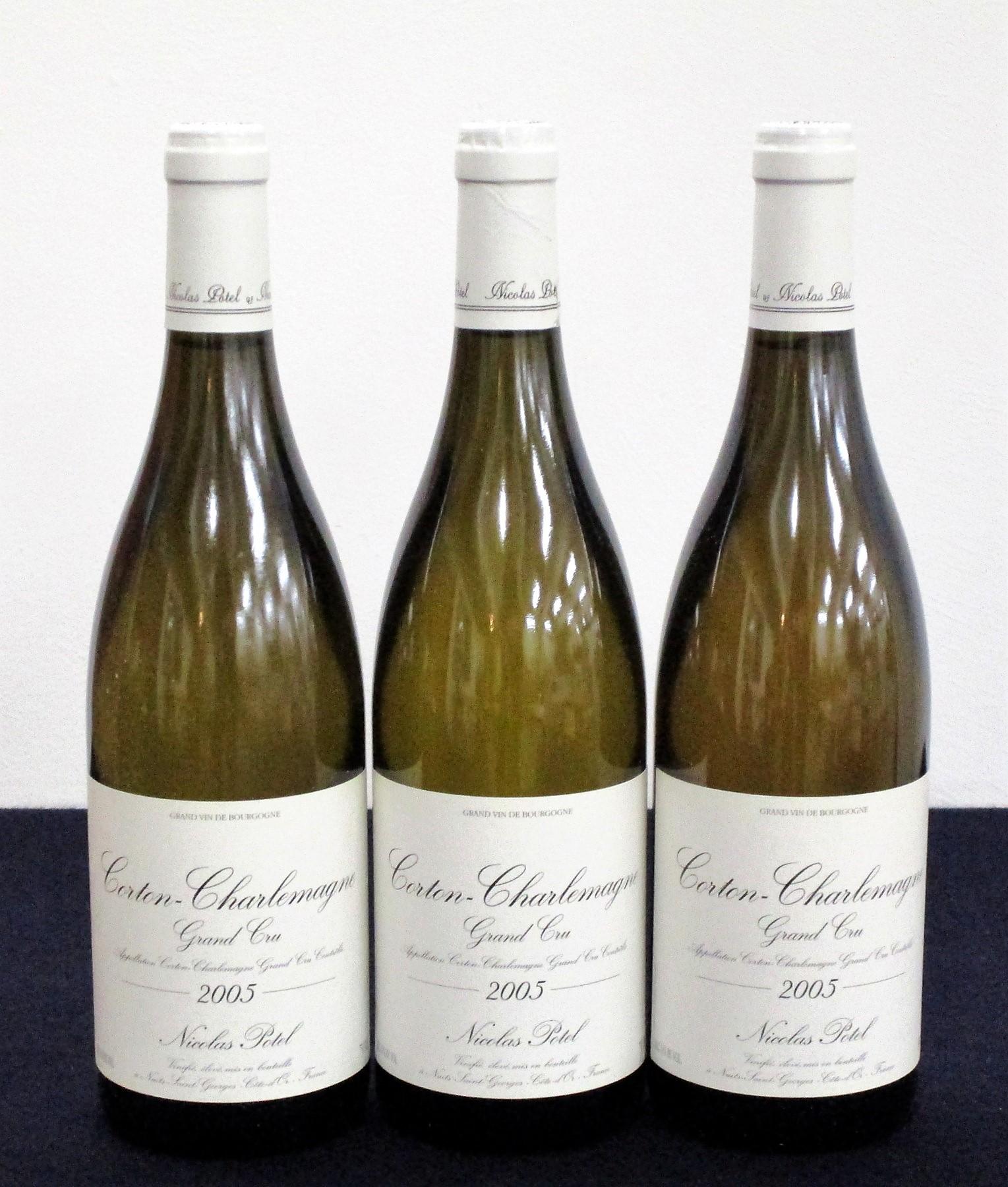 3 bts Corton-Charlemagne Grand Cru 2005 owc (6 bt) Nicolas Potel 1 hf, 1 hf/i.n, 1 i.n