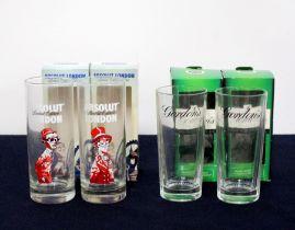 2 branded Gordon's Gin Glasses oc 2 branded Absolut London Limited Edition Glasses oc Above four