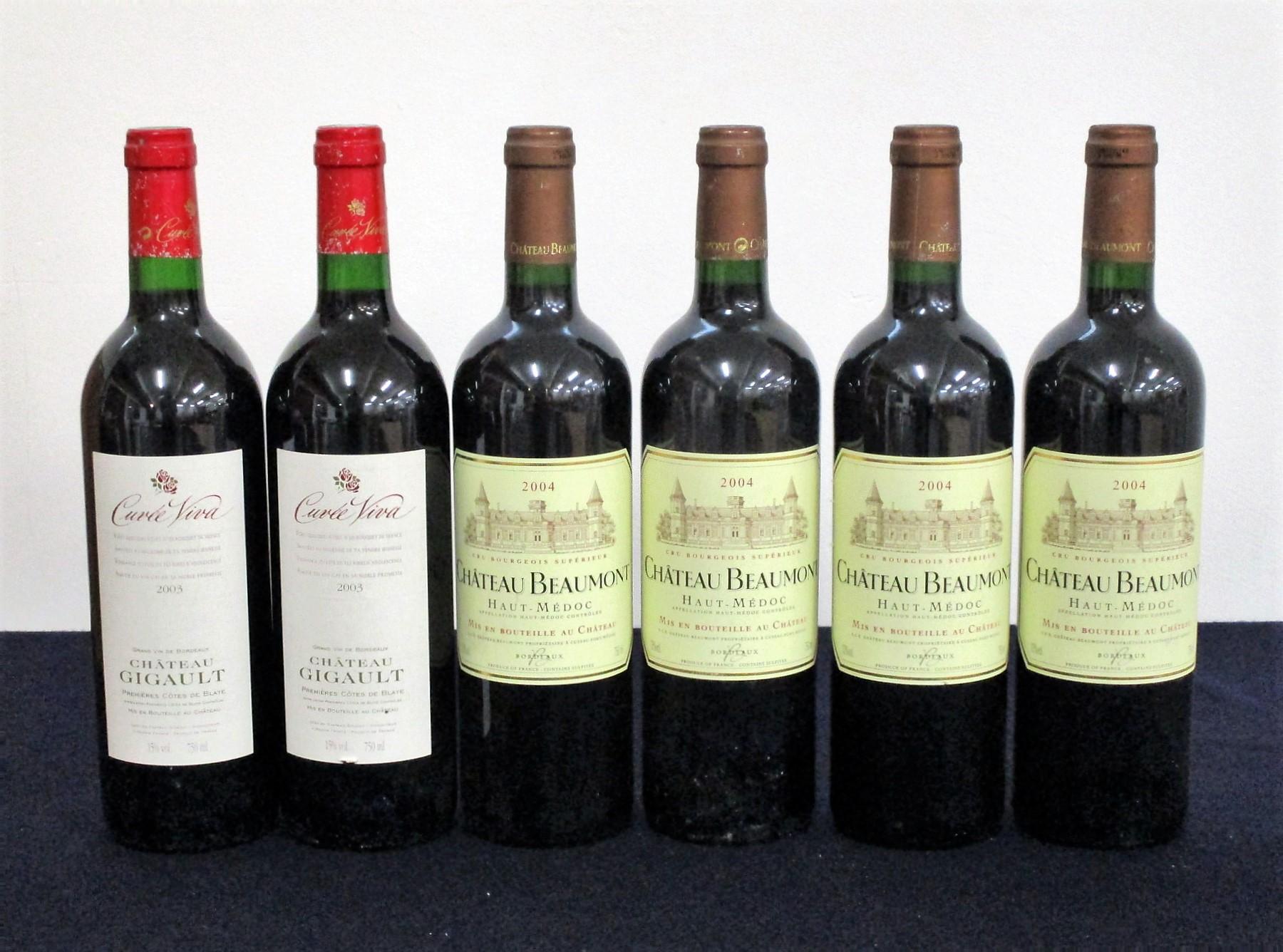 2 bts Ch. Gigault Cuvée Viva 2003 1er Côtes de Blaye i.n, foils sl worn 4 bts Ch. Beaumont 2004