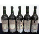 5 bts Taylors 1966 Vintage Port EB (The Wine Society) 4 i.n, 1 base of neck, bs/sl cdl
