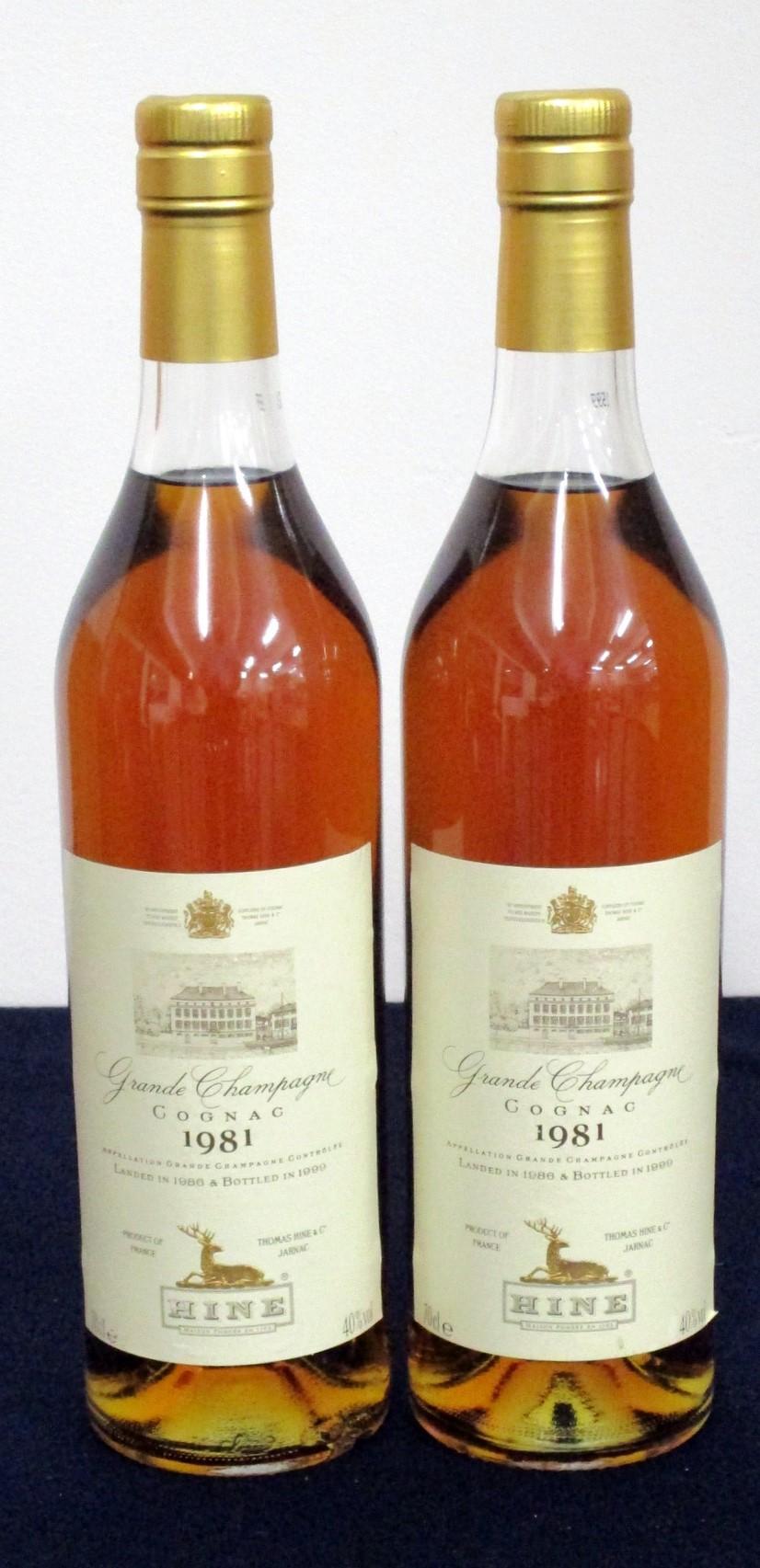 2 70-cl bts Hine Grande Champagne Cognac 1981 landed 1986 bottled 1999