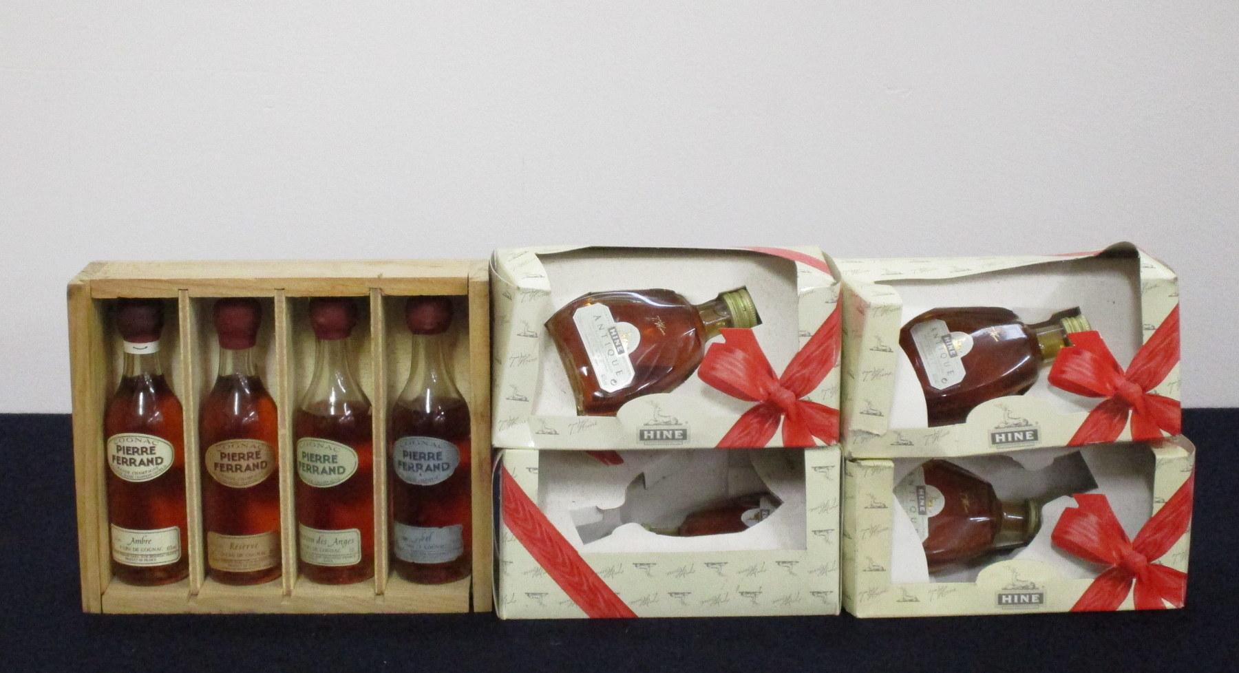 4 5-cl bts Pierre Ferrand Miniatures Grande Champagne Cognac incl:- Ambre, Réserve, Selection des