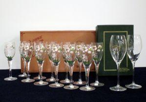 12 Perrier Jouêt Belle Epoque Champagne Flutes and 2 cased Bollinger Champagne Flutes, Riedel