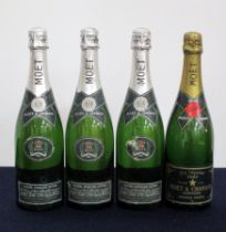 3 bts Moët et Chandon Silver Jubilee Cuvée 1977 vsl cdl 1 bt Moët et Chandon Dry Imperial 1981 Above