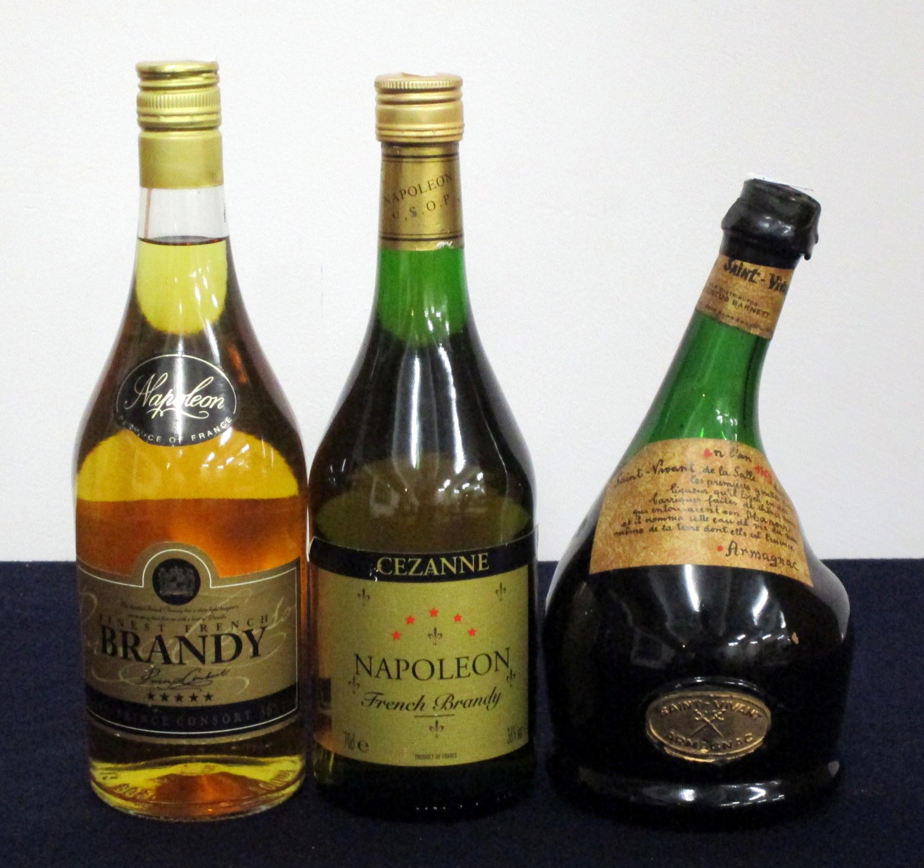 1 70-cl bt Prince Consort Finest French Napoleon Brandy 36% 1 70-cl bt Cezanne Napoleon French