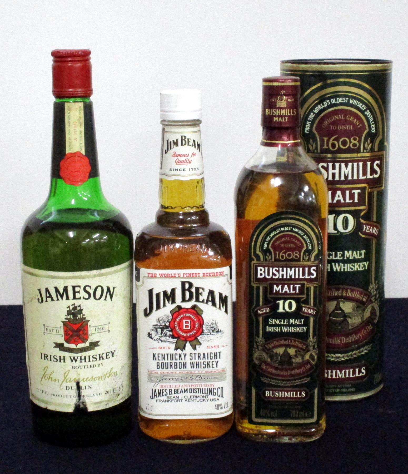 1 26 2/3 fl oz bt Jameson Irish Whiskey 70° proof sl cd/aged label, sl ullaged (us) 1 70-cl bt Jim