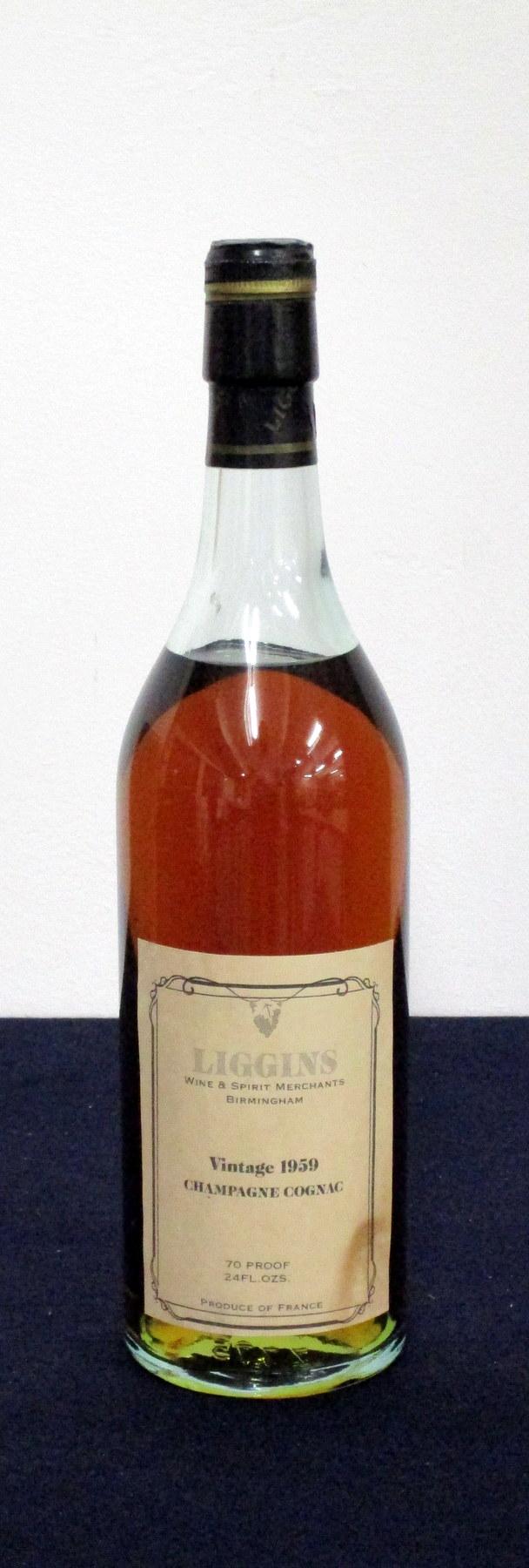 1 24-fl oz bt Liggins Vintage Champagne Cognac 1959 70° proof, ts, vsl stl