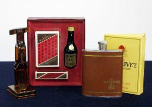 A Glenlivet Hip Flask A Screwpull Corkscrew A Martell VSOP miniature Cards and Dice Set