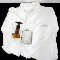 A Hennessy Bath Robe A Hennessy Hip Flask and A Screw Pull Corkscrew Above three items