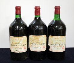 3 dbl magnums Ch. Lynch-Bages 1978 owc Pauillac, 5me Cru Classé 2 i.n, 1 ts, sl torn/dstl, chipped