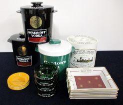 4 Ice Buckets (Gordons, Southern Comfort & Romanoff) 12 Ashtrays including Veuve Clicquot, Belle