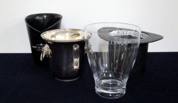 4 Champagne Ice buckets including Bollinger and Moet et Chandon