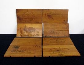 A collection of 8 Polished Wooden Box Ends including:- Ch. Lafite Rothschild 1982, Ch. Palmer