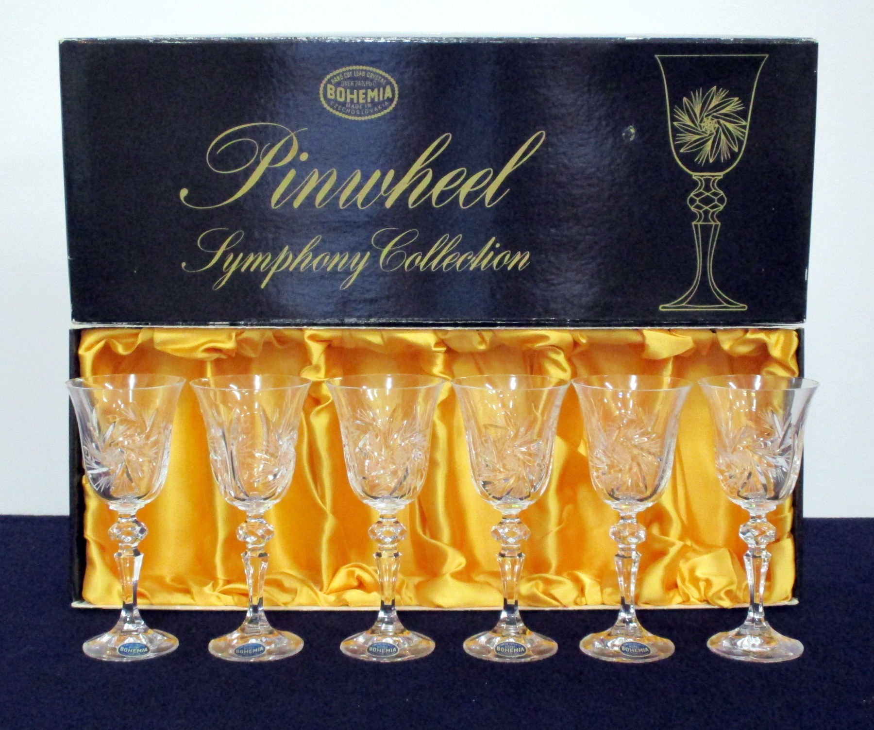 6 Bohemia Hand Cut Lead Crystal 90ml Goblets, lined presentation case, 2 vsl chipped rims