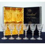 6 Bohemia Hand Cut Lead Crystal 130ml Goblets, lined presentation case, 1 sl chipped rim