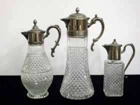 Three Hobnail Cut Claret type Jugs with chromed pourers, handles and lids