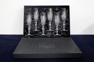 6 Capri Crystal Italia 24% Lead Crystal Champagne Flutes Lined Presentation Case