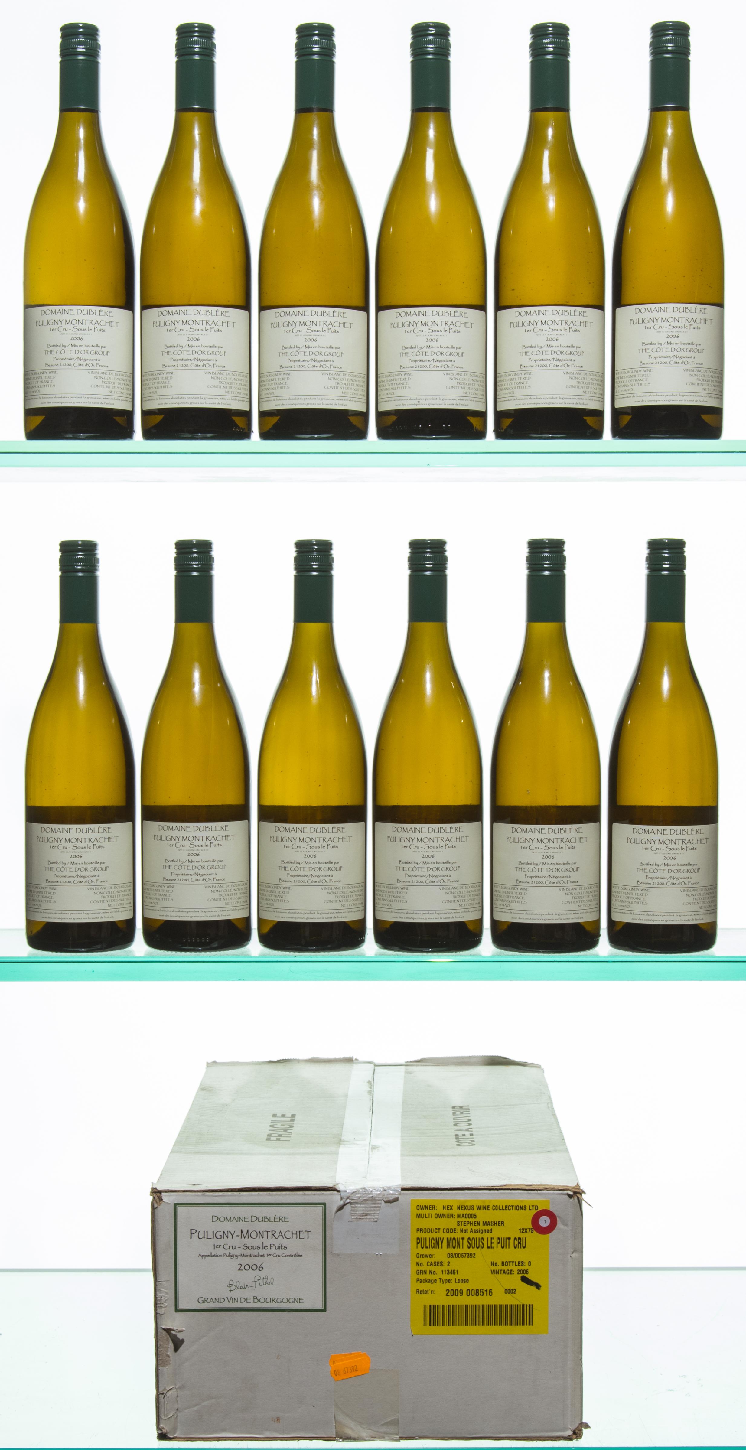 i.b.12 bts Puligny Montrachet Sous le Puits 1er Cru 2006 oc Dublere
