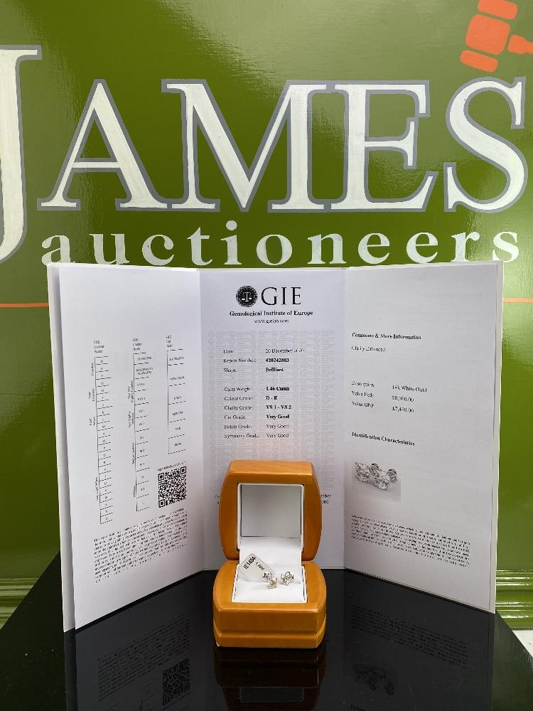 Pair of New 1.46 Carat Round Cut VS1/D Diamond Stud Earrings On 14K Hallmarked White Gold - Image 6 of 6