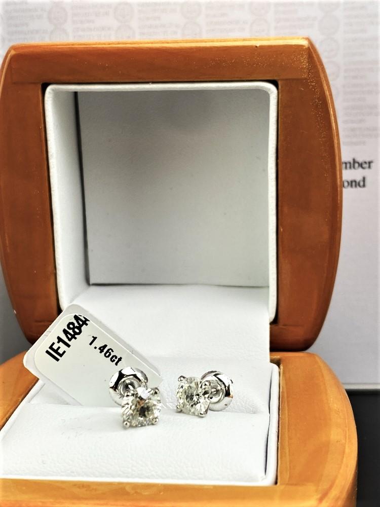 Pair of New 1.46 Carat Round Cut VS1/D Diamond Stud Earrings On 14K Hallmarked White Gold - Image 3 of 6