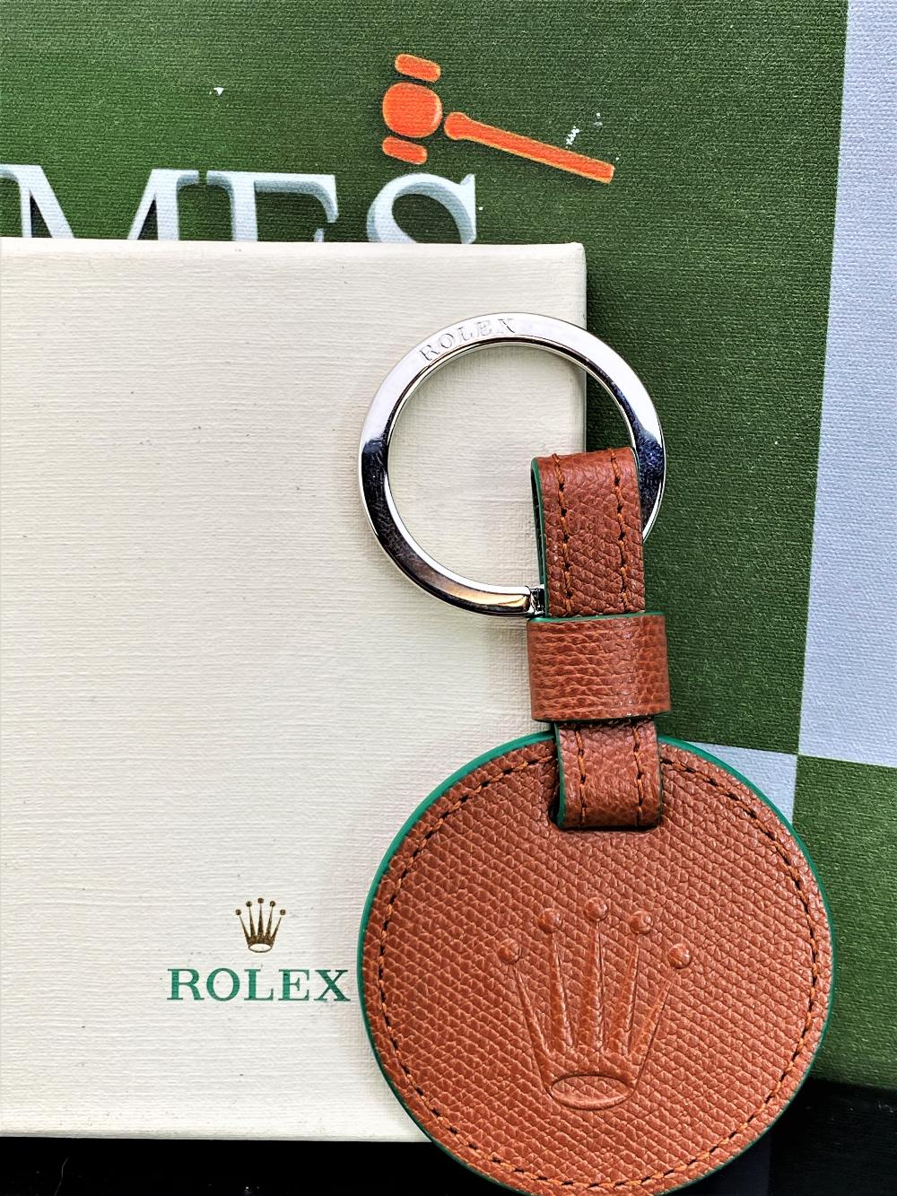 Rolex Official Merchandise Crown Brown Leather Key Ring - Image 2 of 2