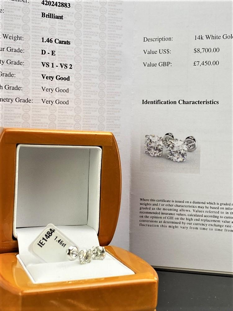 Pair of New 1.46 Carat Round Cut VS1/D Diamond Stud Earrings On 14K Hallmarked White Gold - Image 5 of 6
