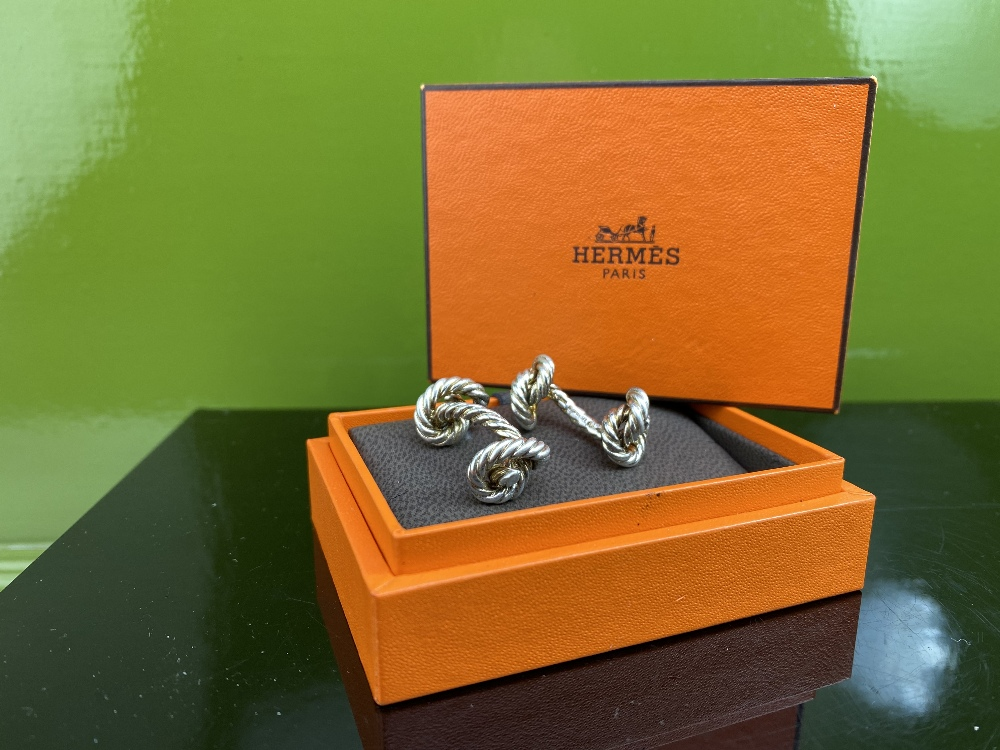 Hermes Classic Solid Silver Rope Cufflinks - Image 2 of 4