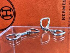 "Hermes-Paris Solid Siver 9.5g ""Horse Bit"" Cufflinks"