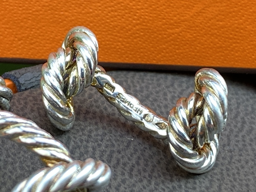 Hermes Classic Solid Silver Rope Cufflinks - Image 3 of 4