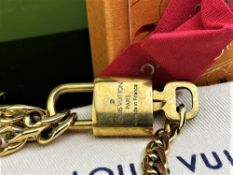 Louis Vuitton Gold Plated Padlock & Key on Chunky Bracelet