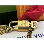 Louis Vuitton Gold Plated Padlock & Key on Chunky Bracelet