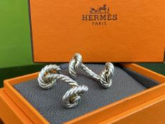 Hermes Classic Solid Silver Rope Cufflinks