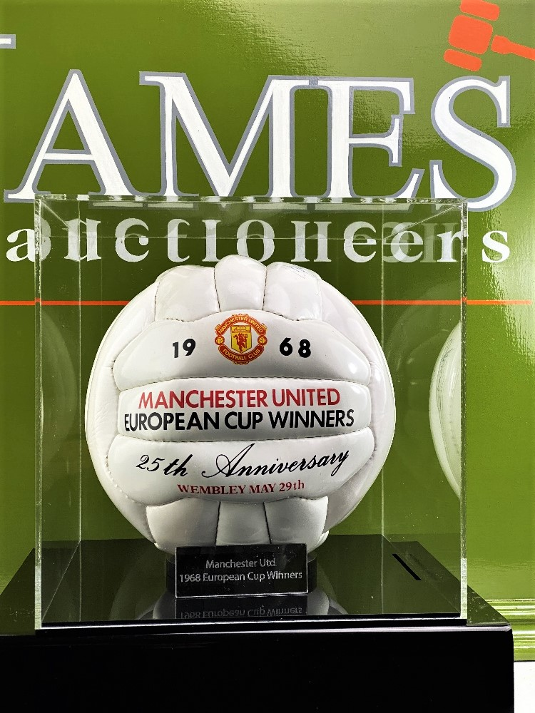 Manchester United 1968-25th Anniversary Signed Football Best, Charlton, Busby Ect