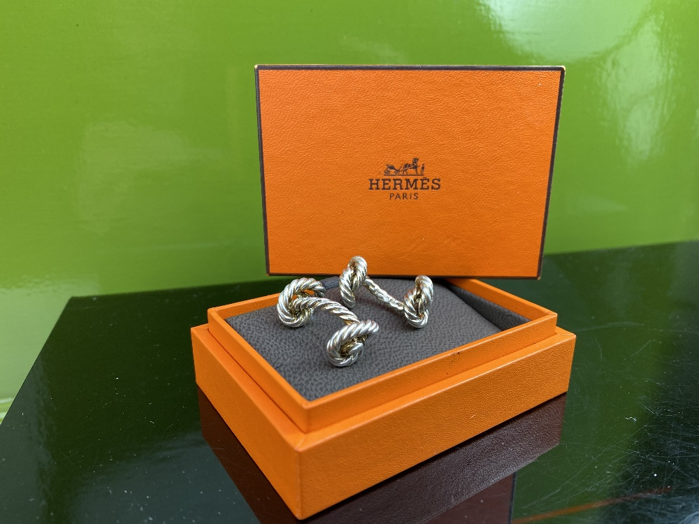 Hermes Classic Solid Silver Rope Cufflinks - Image 4 of 4